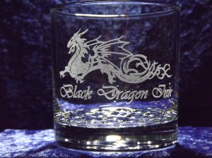 engraved rocks glass